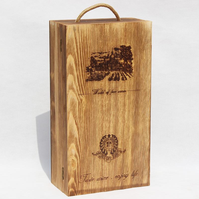 高档松木烤色红酒木盒双支装