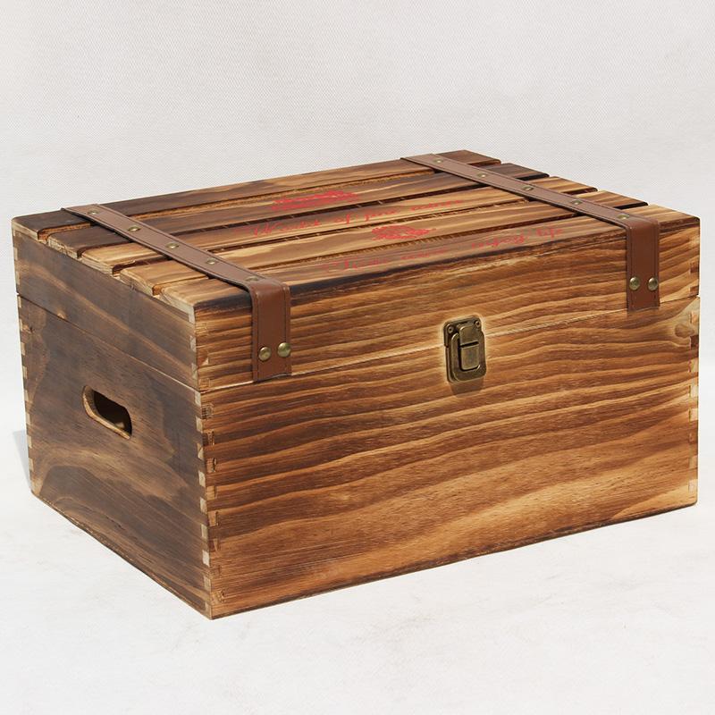 6瓶装烤色红酒木盒
