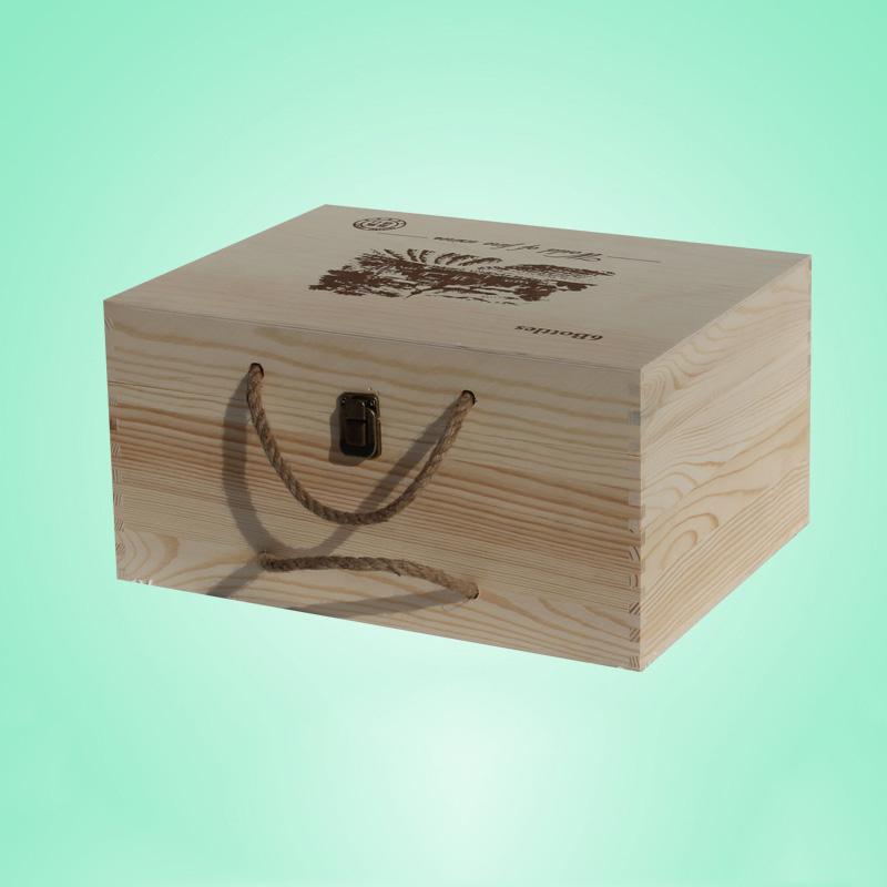 6瓶装通用红酒底盖合板材质的木盒